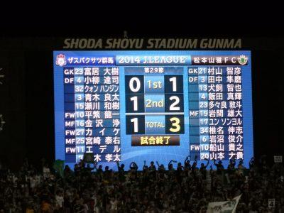 群馬1-3松本の敗戦