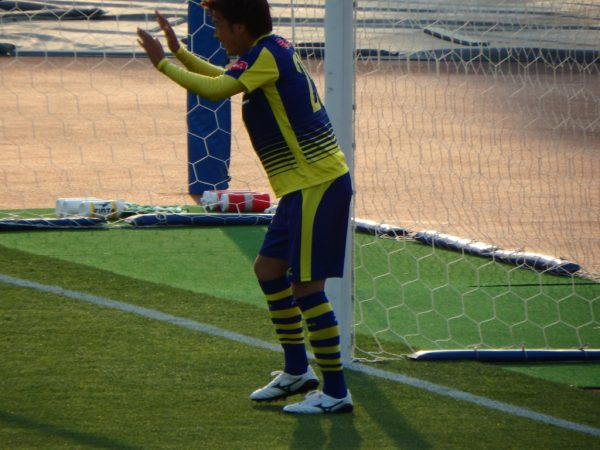 2016年J2第13節・横浜FC戦。ゴールを決めて控えめのザスパクサツ群馬・山岸祐也